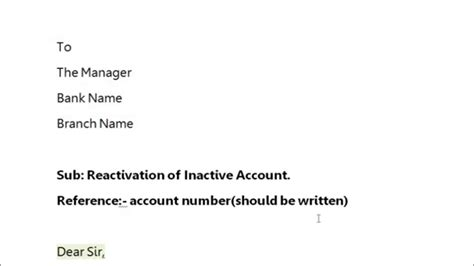 application letter  bank account activation sample