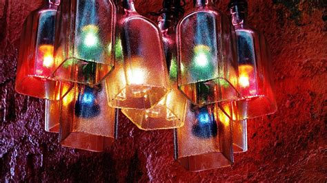 recycled bottles    beautiful chandelier easy