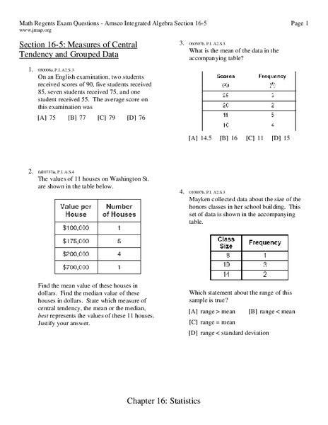 measures  central tendency worksheet   grade