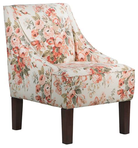 fletcher swoop arm chair pink floral contemporary
