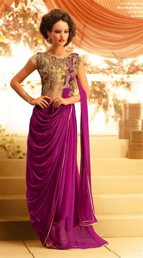 yoke embroidered purple net indowestern gown br