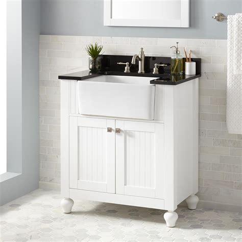 "30"" Nellie Farmhouse Sink Vanity White Bathroom"