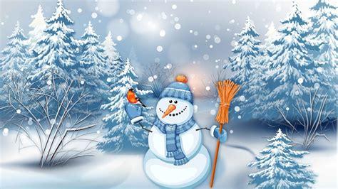 oboi snegovik elki grafika prazdnik snegopad zima