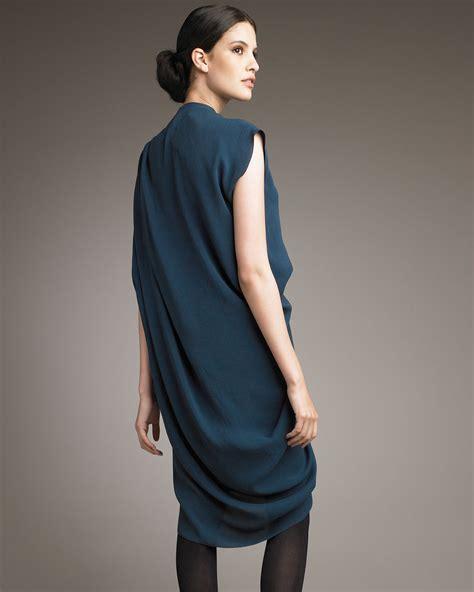 Lanvin Draped Dress - lanvin asymmetric draped dress in blue lyst