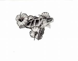 Sea Turtle and Hibiscus tattoo design | Tattoo | Pinterest ...