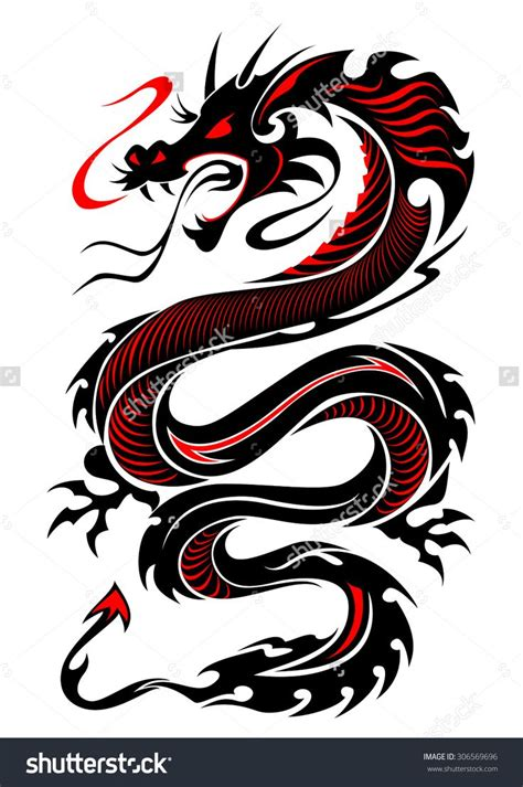 flaming tribal dragon tattoo vector illustration  black
