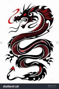 Attractive Black And Red Dragon Tattoo Design