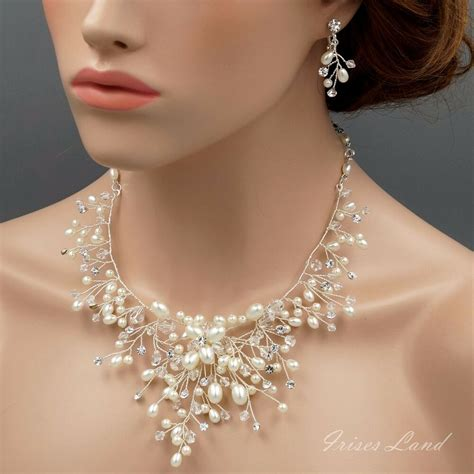 Bridal Jewelry by Pearl Wire Wrapped Necklace Earrings Bridal