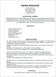 professional assistant front office manager resume