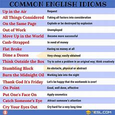2000+ Common English Idioms And Their Meanings  7 E S L