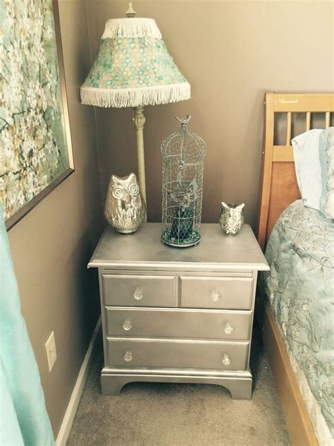Refinish Nightstand by Refinished Nightstand With Mirror Paint Hometalk