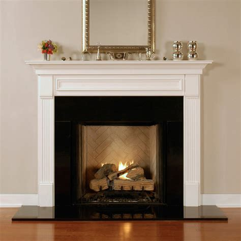 marble fireplace surround and wooden white mantel with lucite table and zebra wood fireplace mantels forestdale americana collection