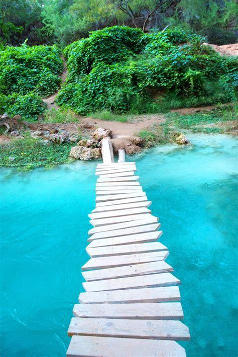 A Footbridge Crossing Havasu Creek In The Havasupai