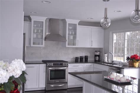 gray granite countertops contemporary kitchen behr