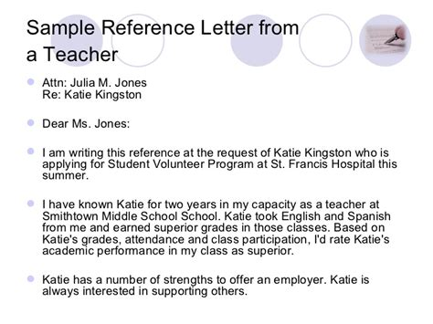 Teaching Middle School Students How To Write A Resume by Writing A Reference Letter