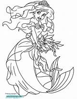 Ariel Mermaid Coloring Pages Little Dress Princess Disneyclips Playing Funstuff sketch template