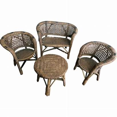 Doll Furniture Wicker Painted American Table Chairs
