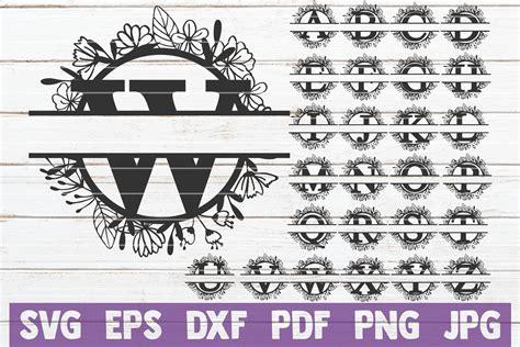 floral split monogram alphabet svg cut file commercial