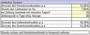 Zins Berechnen Formel : skonto berechnen beispiel und excel vorlage ~ Themetempest.com Abrechnung