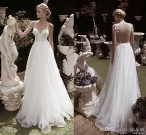 wedding dress 2016 new spaghetti backless wedding dresses tulle applique bridal gowns lace wedding dress