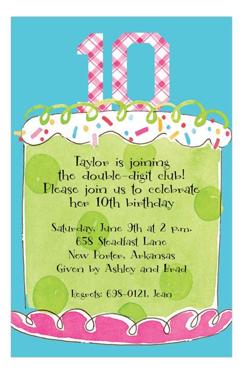girl tenth birthday invitation graces bday