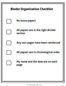 binder checklist google search organization