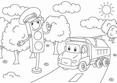 Traffic Vector Coloring Lights Illustration Lorry Cartoon