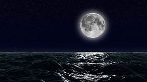 Sea, And, Full, Moon, Night, Sky, With, Flashing, Stars, Beautiful, Relaxing, Looped, Animation, Hd, 1080