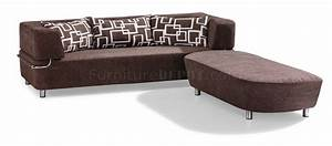 Brown microfiber convertible sectional sofa bed w ottoman for Sectional sofa that converts to bed