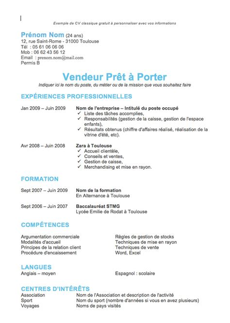 Cv Francais Simple by Cv Simple Cv Francais Jaoloron