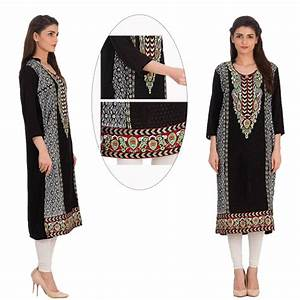 Black Linen Kurti Multi Color Embroidery With Tights (Code ...