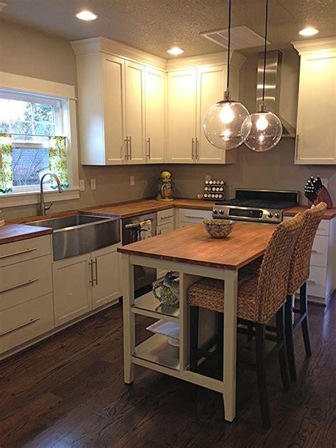 bungalow kitchen remodel butcher block countertops