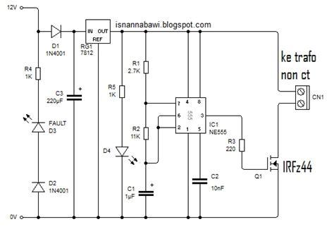 rangkaian inverter 12v dc 220v ac non ct isnan nabawi