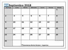 Calendario septiembre 2018, Argentina Michel Zbinden es