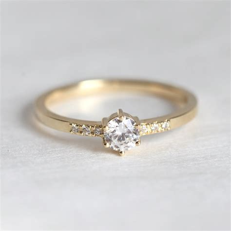 ring for women 0 1ctriund cut 18k solid yellow gold diamond jewelry engagement ring simple bague