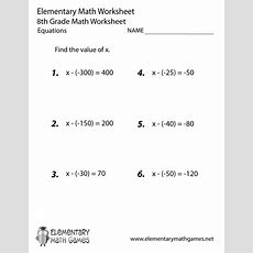 Eighth Grade Equations Worksheet