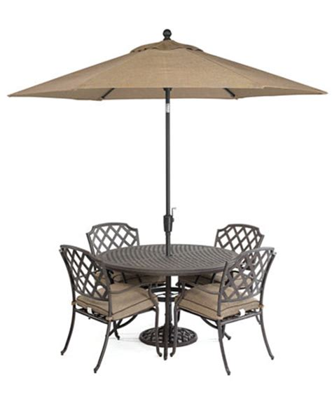 grove hill outdoor cast aluminum 5 pc dining set 48