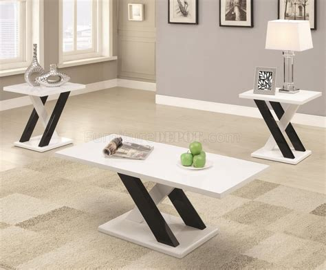 701011 3pc Coffee Table Set In White & Black By Coaster
