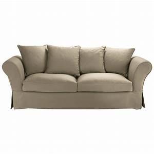Green-design organic cotton 3/4 seater sofa in taupe Roma