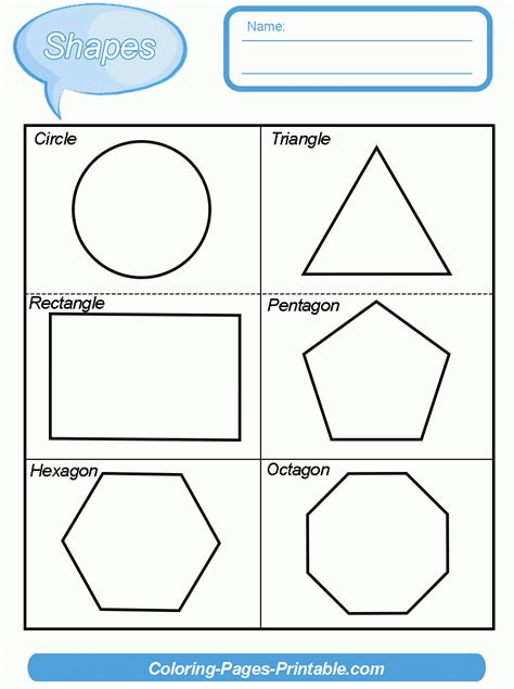 two dimensional shapes worksheets kindergarten