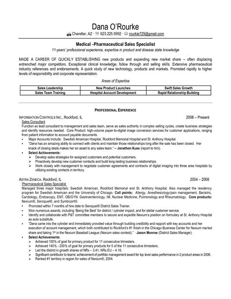 Pharmaceutical Resume by Sle Resume For Pharmaceutical Industry Sle Resume