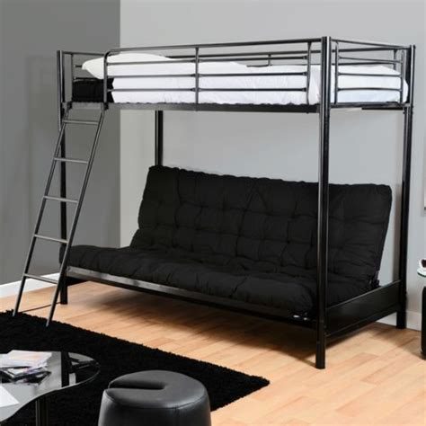 lit mezzanine en m 233 tal laqu 233 avec matelas futon pour
