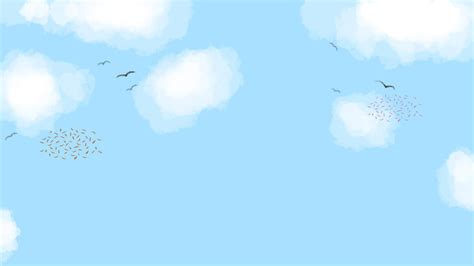Hand Drawn Minimalistic Blue Sky With White Clouds