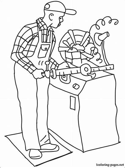 Coloring Lathe Pages Career Operator Machinist Printable