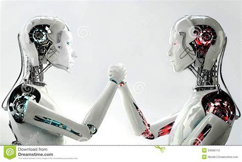Men Robot Vs Women Robot Stock Illustration. Illustration