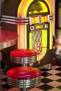 jukebox stock image image of diner checkers stools