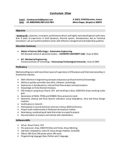 Cv Specimen by Sandeep S G Resume Cfd