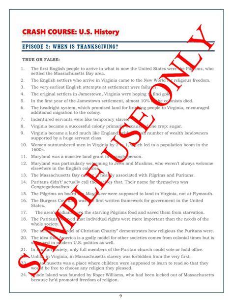 crash course u s history worksheets episodes 1 5