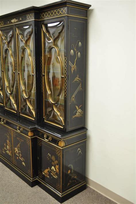Karges Oriental Bubble Glass China Cabinet Breakfront