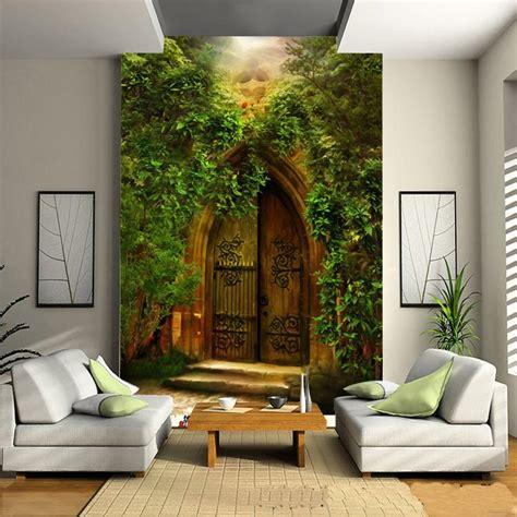 european style forest door wallpaper sofa living room